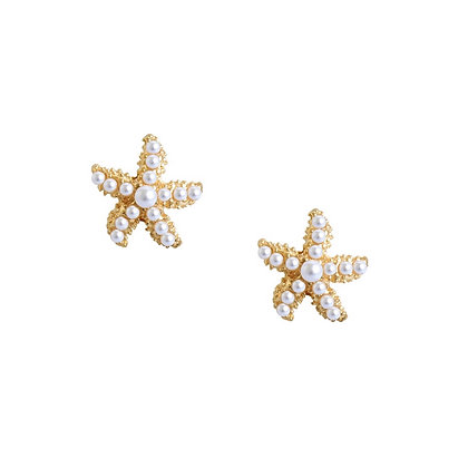 Mini Starfish Pearl Studs- S925 Post