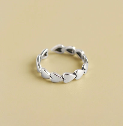 S925 Sterling Silver Hearts Ring