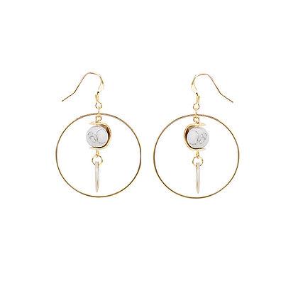 Delicate Large Hollow Marble Drop Earrings