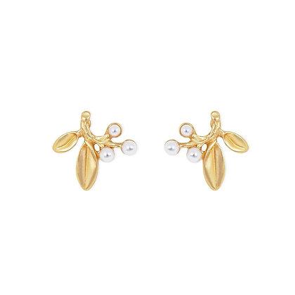 Olive Leaf Pearl Studs- S925 Post