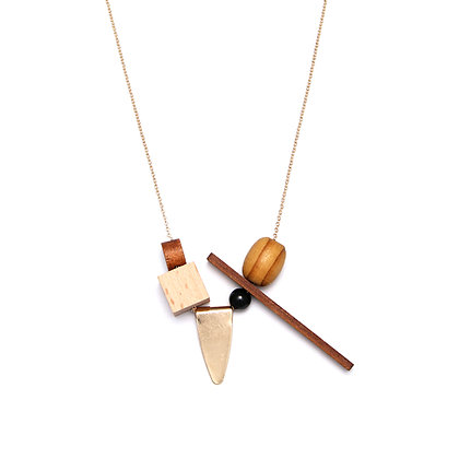 Asymmetric Wooden Statement Necklace