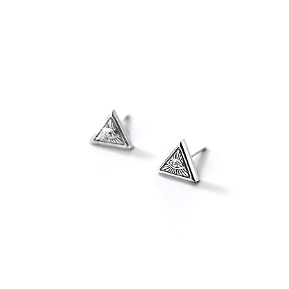 S925 Triangle Evil Eyes Studs
