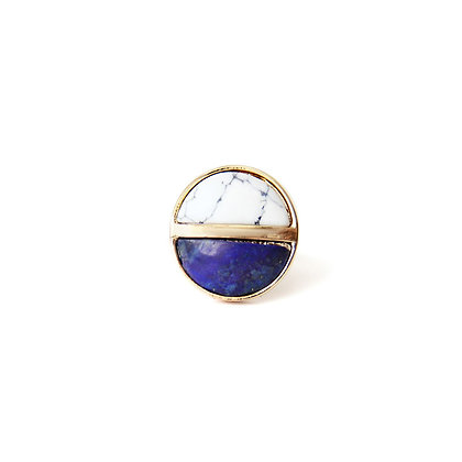 Blue Sand Quartz & White Marble Ring