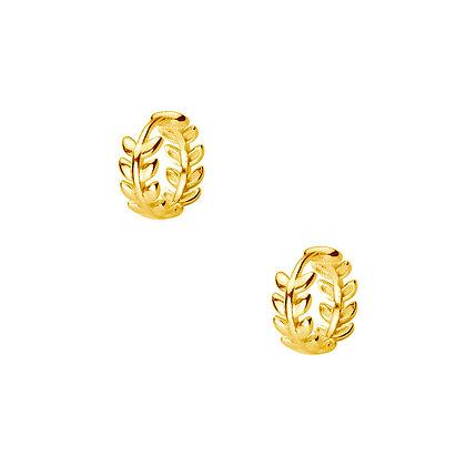 S925 Fine Leaf Hoop Earrings