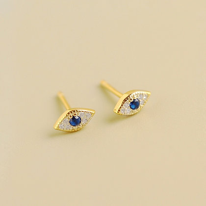 Small CZ Blue Eye Earrings