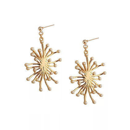 Gold Sun Pearl Earrings