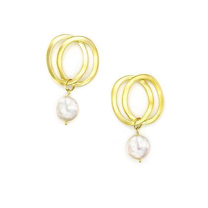 Double Circle Peal Drop Earrings -S925 post