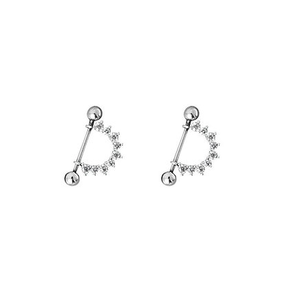 S925 Crystal Barbell Earring
