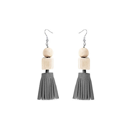 Wood Cube Leather Tassel Earrings