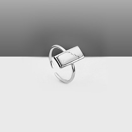 Sterling Silver Marble Stone Ring