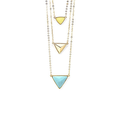 Lucky Trio Multilayered Natural Stone Necklace