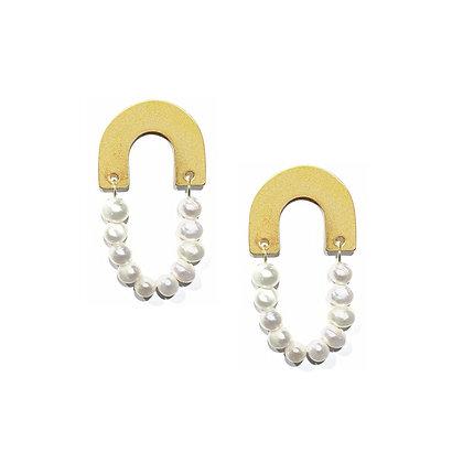U Pearl Stud Earrings -S925 Post