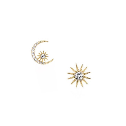 S925 CZ Sun & Moon Stud Earrings