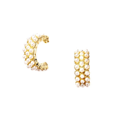 Pearl Beaded Gold Hoops -S925 Post
