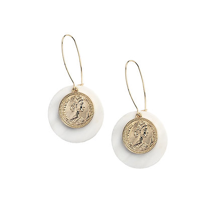 Coin & Natural Shell Hoop Earrings