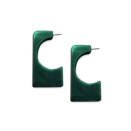 Resin Hoop Earrings in Square Cut Out Design