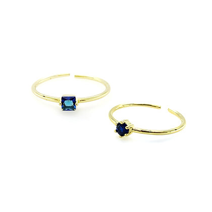 S925 Mini Blue Stone Adjustable Ring