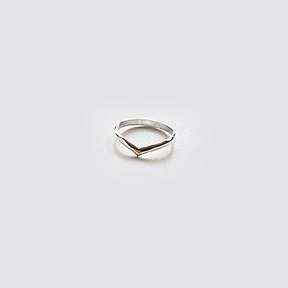 Sterling Silver Simplistic V Ring