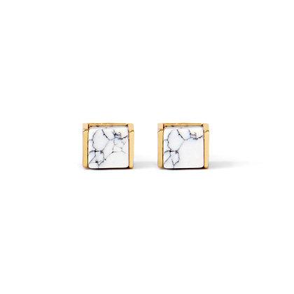 Cube Marble Stud Earrings
