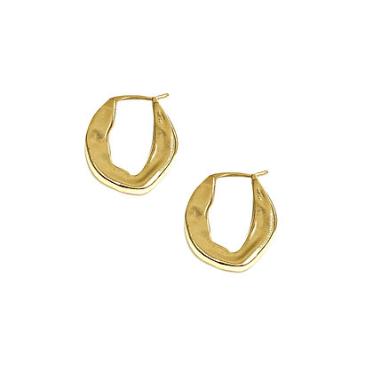 Irregular Oval Hoop Earring