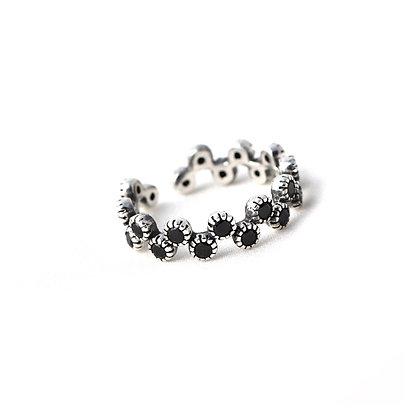 S925 Black Stone Adjustable Ring