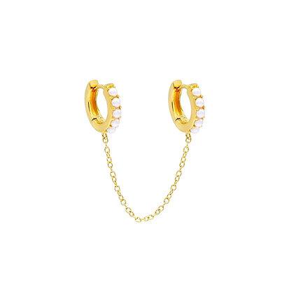 S925 Double Huggie Pearl Chain Earring