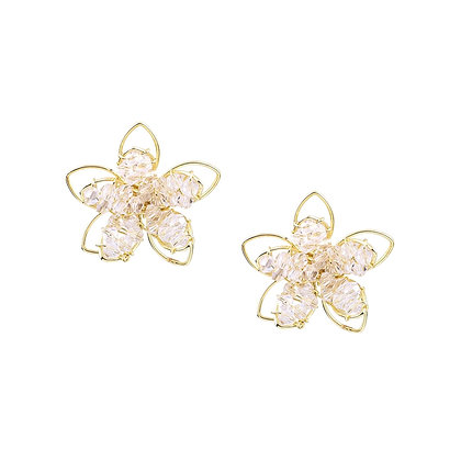 Crystal Floral Earring -S925 Post