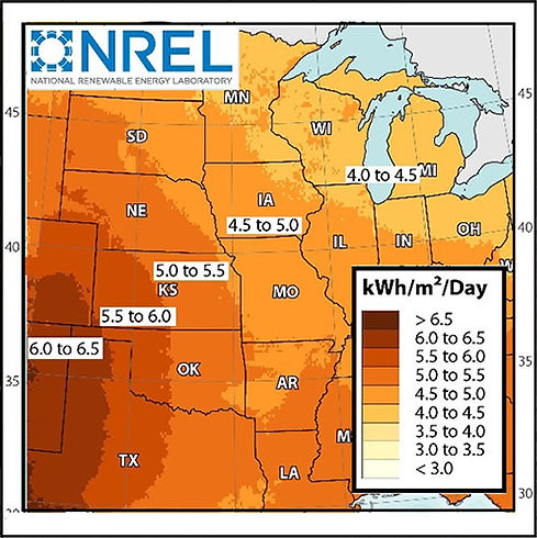 NREL US kWh/m2/day Map