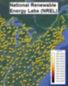 National Renewable Energy Labs Peak Sun Hour Locations Map