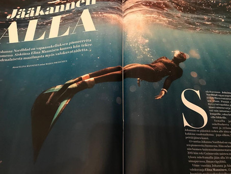 Me Naiset magazine with 8 pages of our underwater pictures