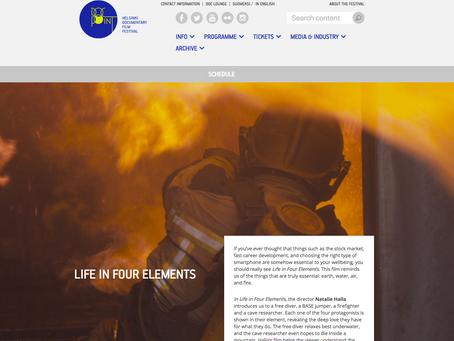 Life in Four Elements - Neljä Elementtiä. A Natalie Halla film. Finland premiere happening soon.