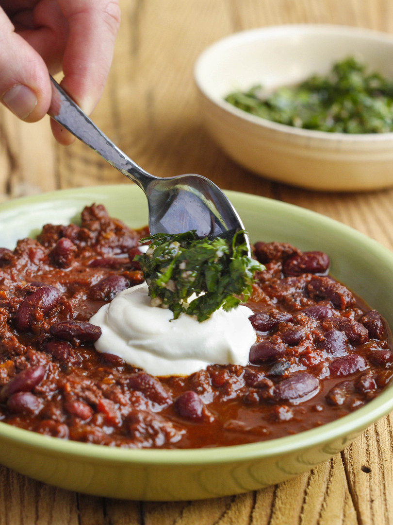 Beef + Beer Chili with Chimmichurri