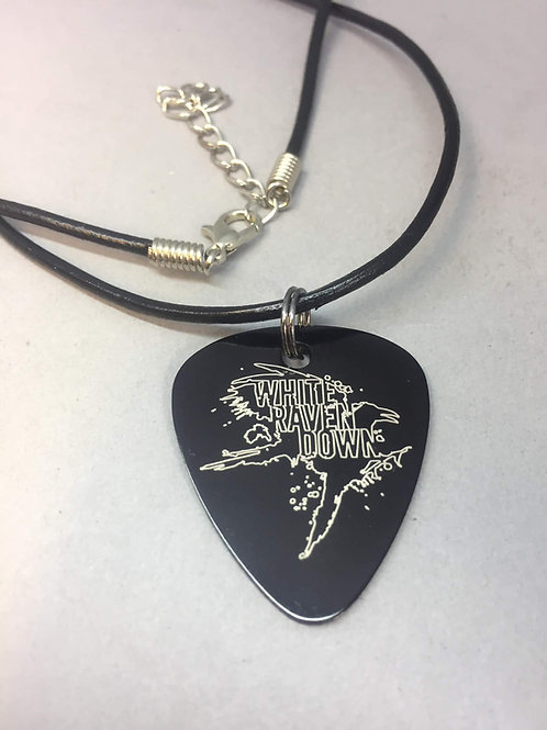 Leather String Necklace w/ WRD Metal Guitar Pick