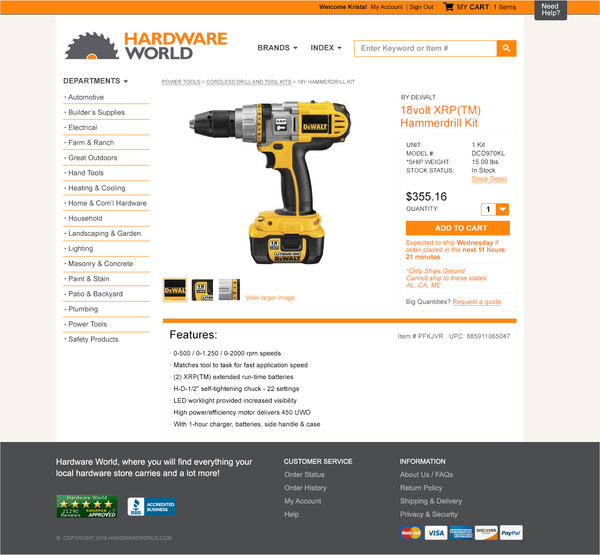Hardware World web design