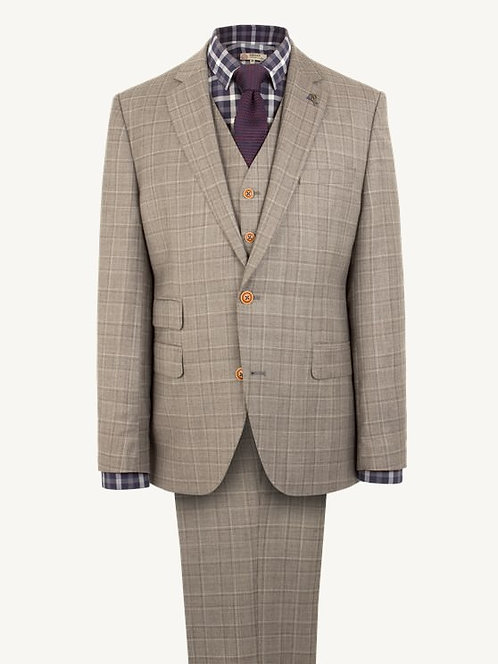 Taupe Check 3 Piece Suit
