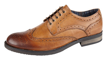 ROAMERS LEATHER TAN BROGUE SHOES