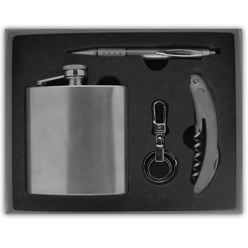 4 Piece Stainless Steel Hip Flask Set