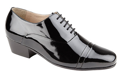 MONTECATINI BLACK PATENT COATED LEATHER LACE UP OXFORD SHOES ( CUBAN HEEL )