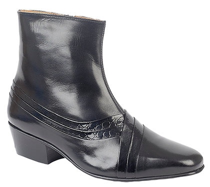 MENS LEATHER REPTILE CUBAN HEEL BOOTS