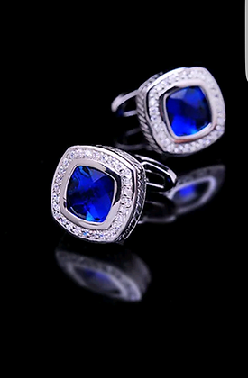 SILVER PLATED BLUE GLASS STONE LUXURY CUFFLINKS