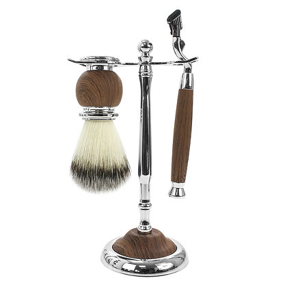 Brown Wood Effect Shaving Set