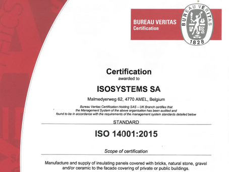 Isosystems achieves ISO14001:2015 certification