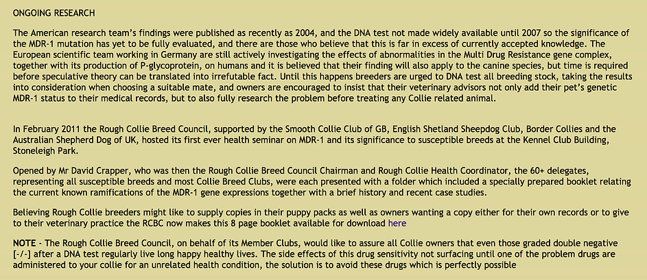 Stirlingcollies - collie drug sensitivities