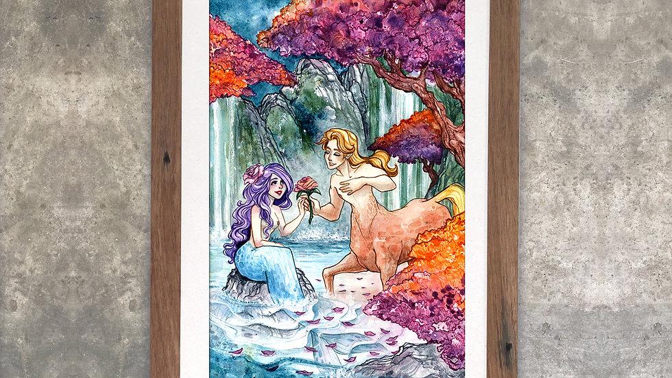 """""""Love is Love is Love: Mermaid and Centaur"""" Original Watercolor Painting"""