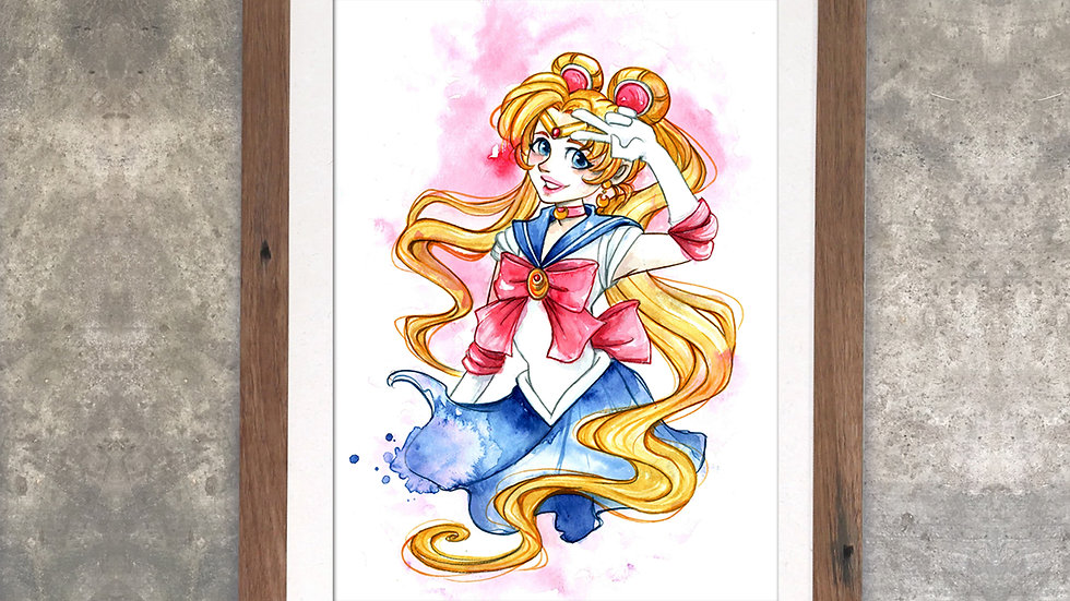 """Sailormoon"" Original Watercolor Painting"