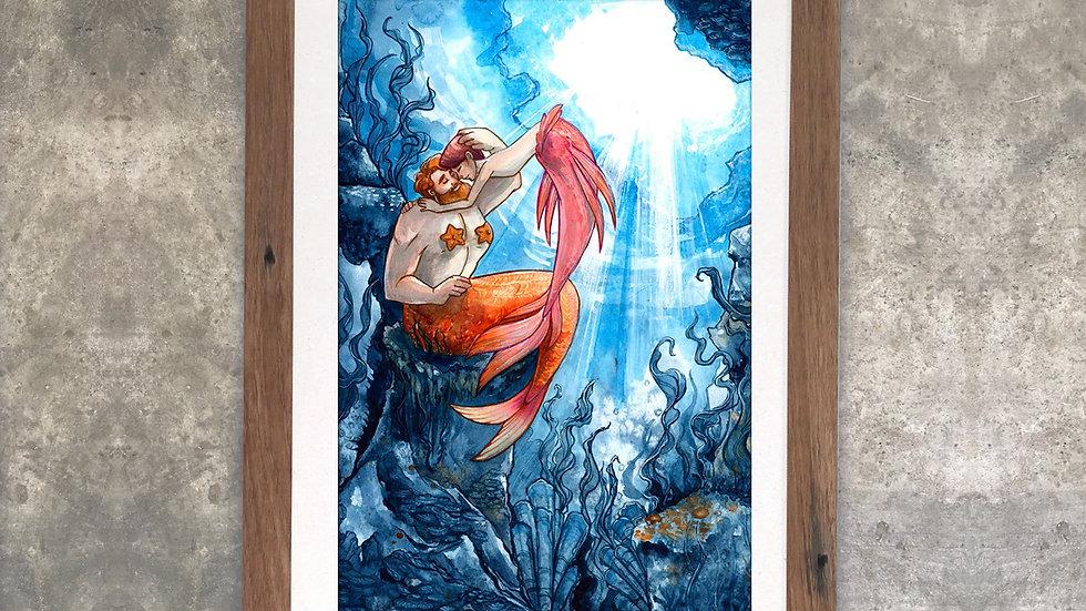 """""""Love is Love is Love: Mermen"""" Original Watercolor Painting"""
