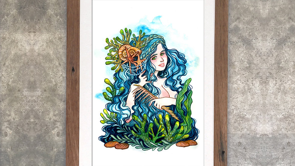 """Portrait of A Mermaid"" Original Watercolor Painting"