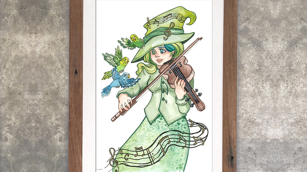 """Familiars: Hum, Tune, and Melody the Budgies""​​​"" Original Watercolor Painting"