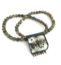Alison Boyce. Necklace. Enamel on copper, oxidised silver, rhyolite jasper beads.