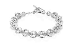 Flat Textured Link Bracelet.